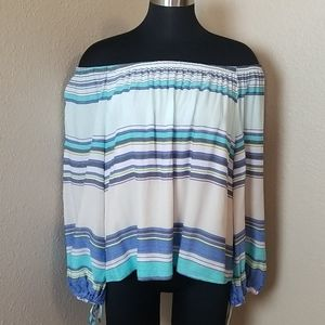 Wildfox Striped Off Shoulder Blouse